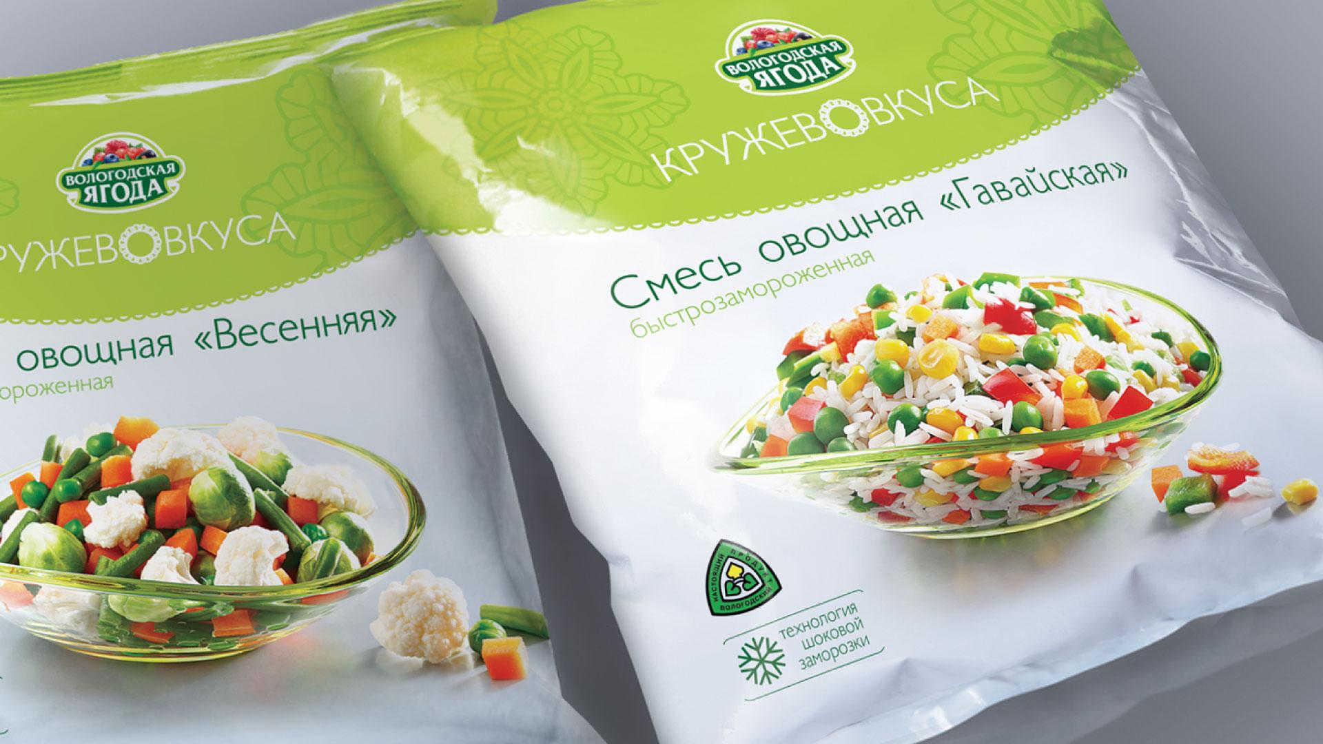 """Дизайн упаковки замороженных овощных смесей """"Вологодская ягода"""""""