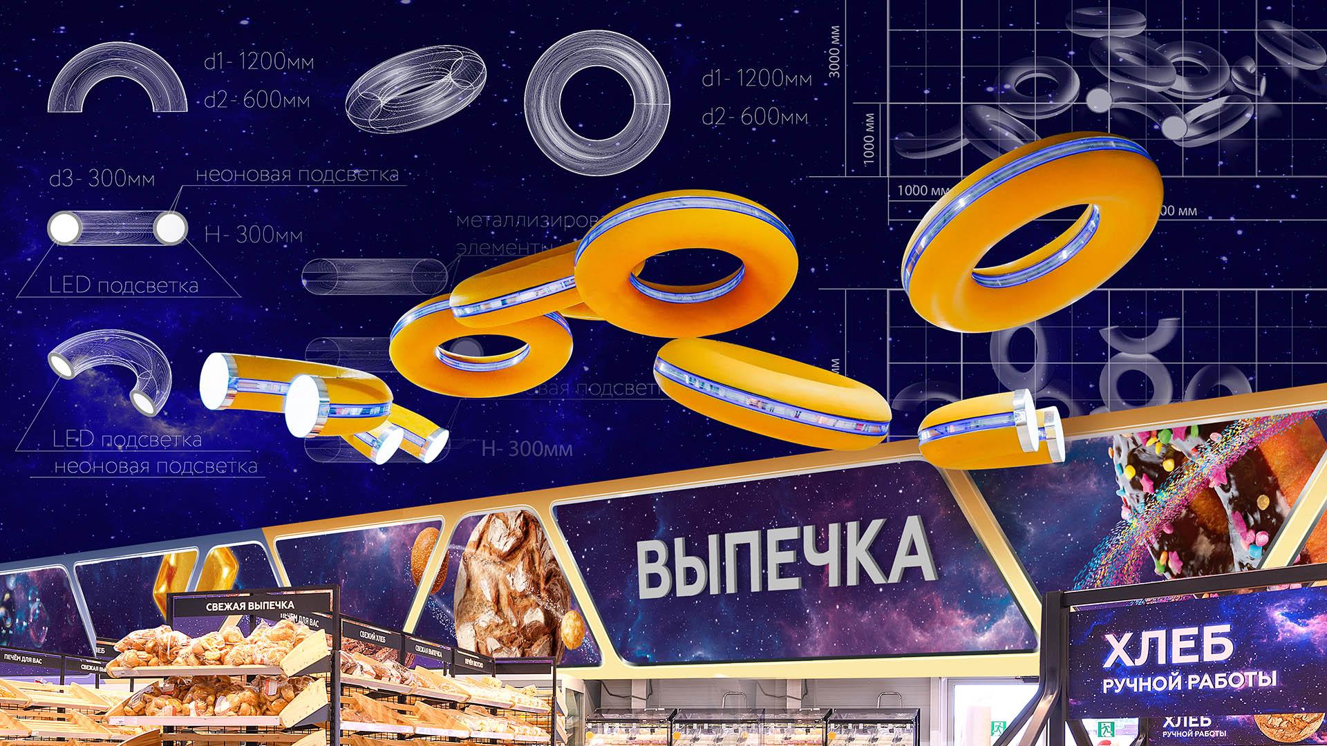 Дизайн подвесных конструкций светильников в супермаркете