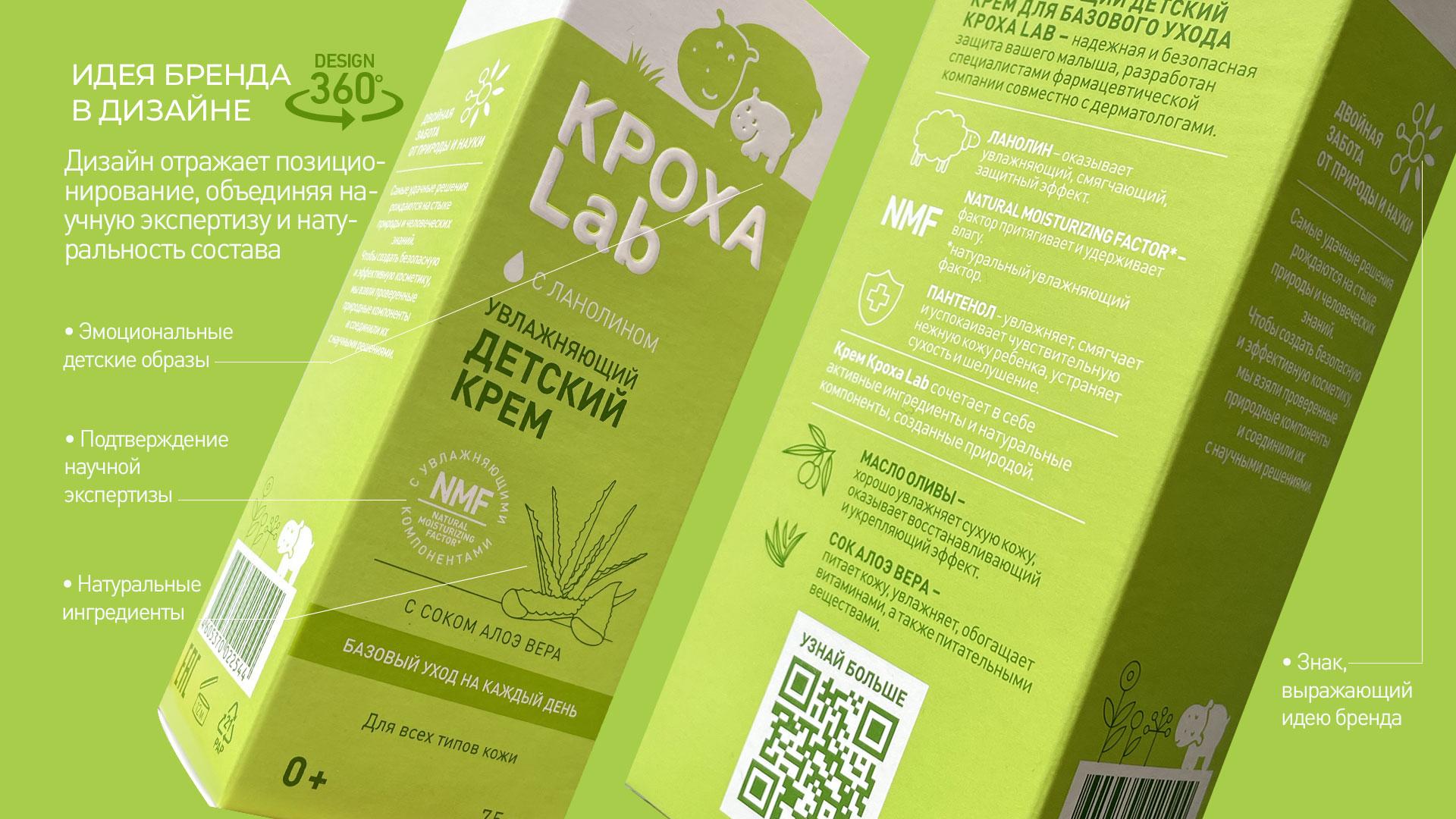 Дизайн упаковки бренда Кроха Lab со всех сторон