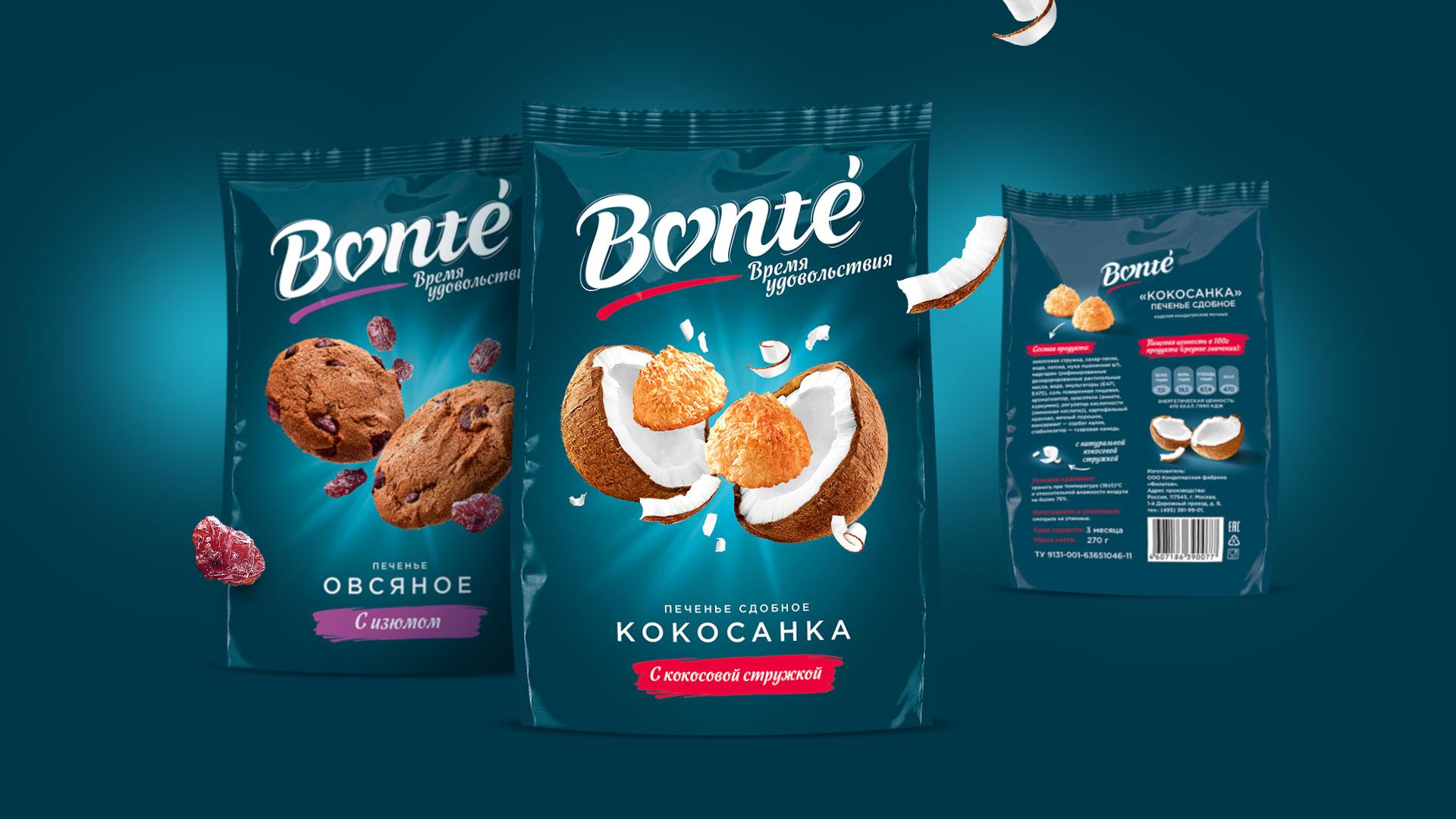 Дизайн упаковки печенья с изюмом и кокосовой стружкой