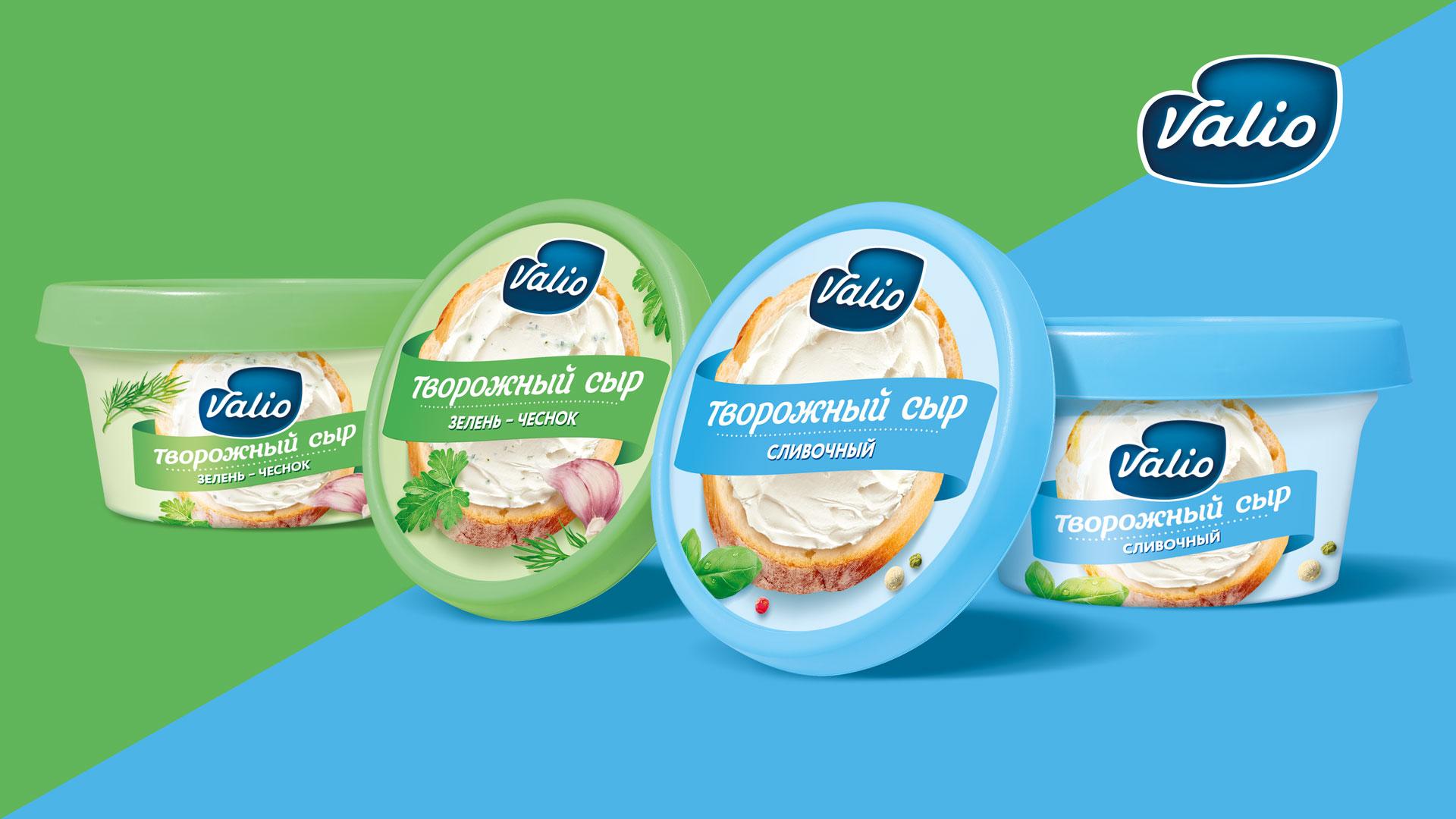 дизайн упаковки творожных сыров Valio